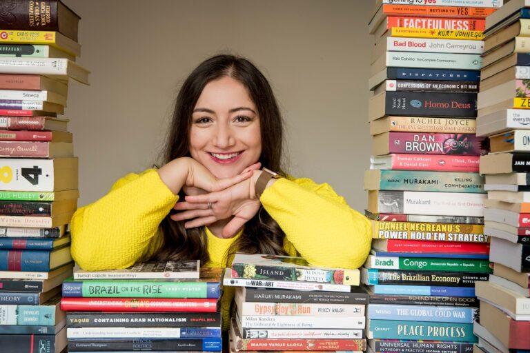 Haya Douidri photoshoot with books