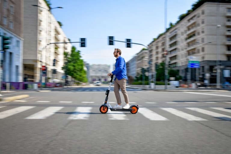 Helbiz scooter being ridden in MIlan, Italy