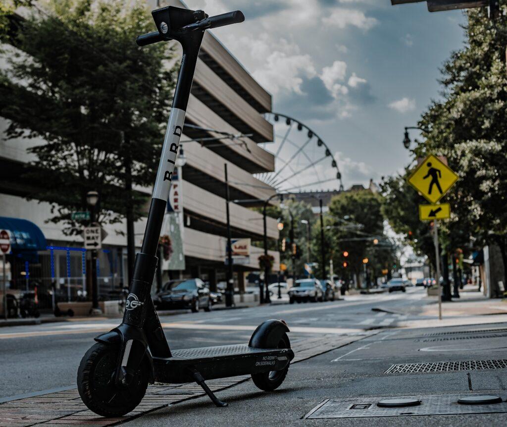 A Bird electric scooter in Atlanta, Georgia