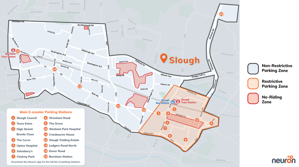 Slough e-scooter ride map Neuron